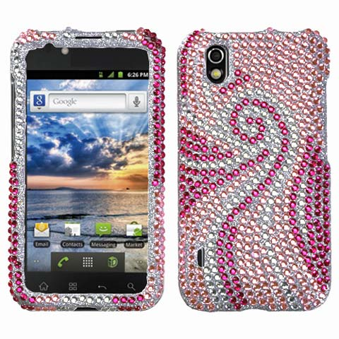 Pink Swirl Crystal Rhinestones Bling Case for LG Marquee