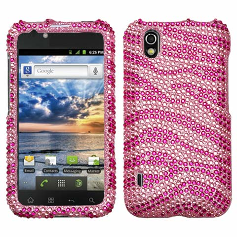 Pink Zebra Crystal Rhinestones Bling Case for LG Marquee