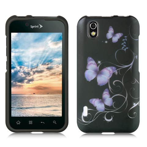 Purple Butterflies Rubberized Hard Case for LG Marquee