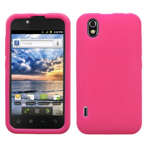 Hot Pink Silicone Skin Cover for LG Marquee