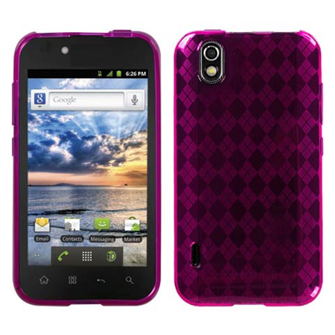 Hot Pink Argyle TPU Case for LG Marquee