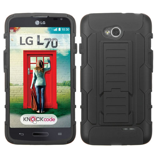 Black Lightspeed Dual Layer Hybrid Case for LG Optimus L70