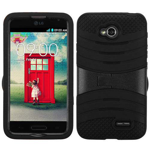 Black Wave Symbiosis Dual Layer Hybrid Case for LG Realm