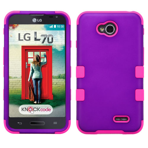 Purple and Pink Synergy Hybrid Case for LG Optimus L70