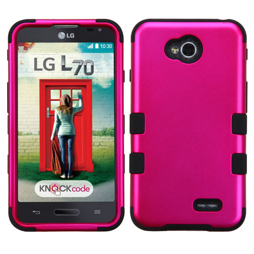 Hot Pink Synergy Hybrid Case for LG Optimus L70