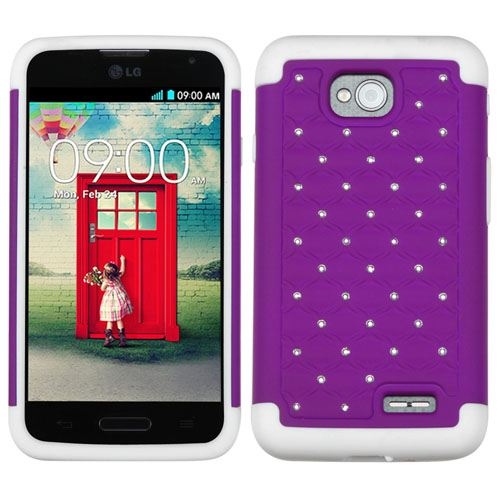 Purple Dazzler Defense Dual Layer Hybrid Case for LG Optimus L70