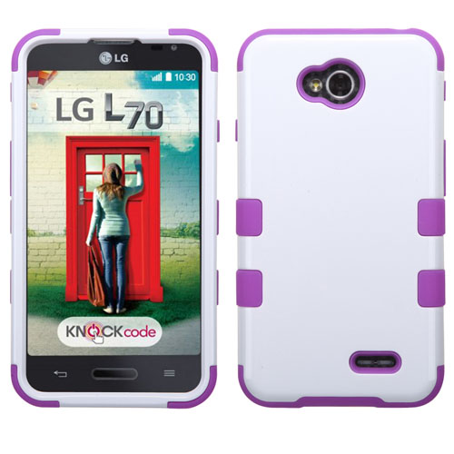 Purple and White Synergy Hybrid Case for LG Optimus L70