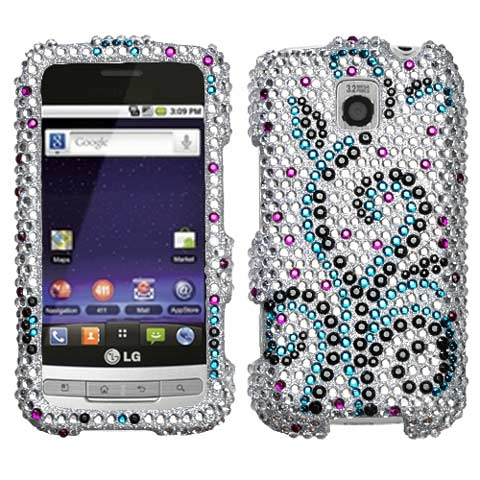 Frosty Curls Crystal Rhinestones Bling Case for LG Optimus M