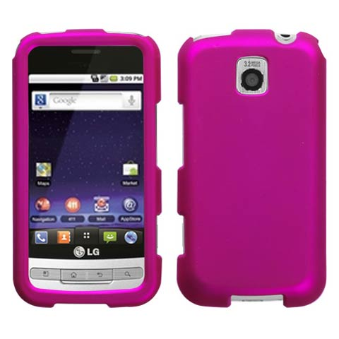 Hot Pink Rubberized Hard Case for LG Optimus M