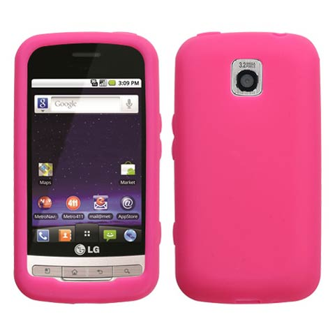 Hot Pink Silicone Skin Cover for LG Optimus M