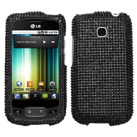 Black Crystal Rhinestones Bling Case for LG Optimus T