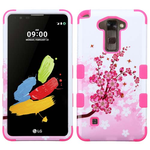 Pink Flowers Synergy Hybrid Case for LG Stylus 2