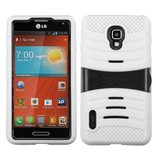 White Wave Symbiosis Dual Layer Hybrid Case for LG Optimus F7