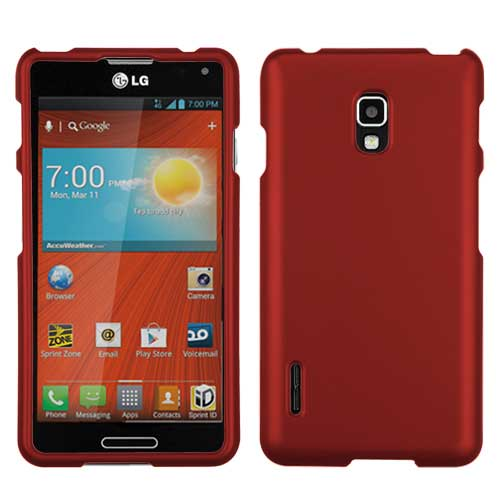 Red Rubberized Hard Case for LG Optimus F7