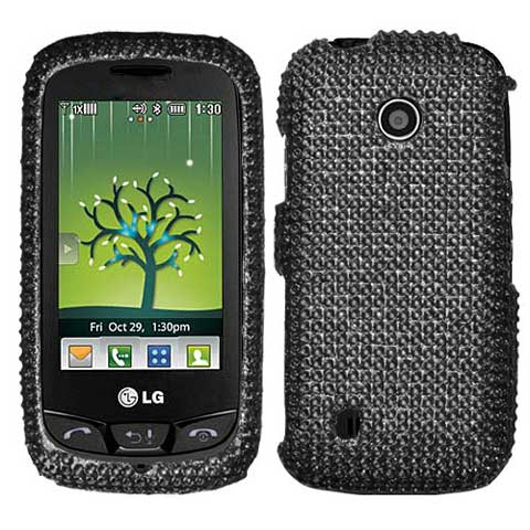 Black Crystal Rhinestones Bling Case for LG Cosmos Touch