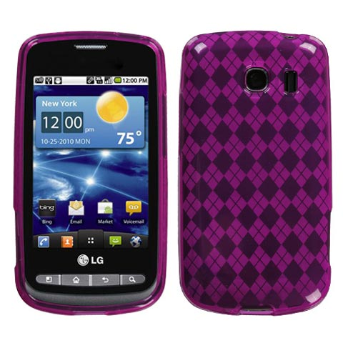 Hot Pink Argyle TPU Case for LG Vortex