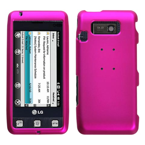 Hot Pink Rubberized Hard Case for LG Fathom