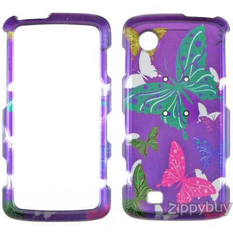 LG Chocolate Touch VX8575 Hard Cover Case - Purple w/ Butterflies
