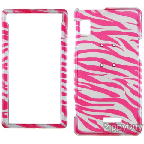 Motorola DROID Hard Cover Case - Silver And Red Zebra