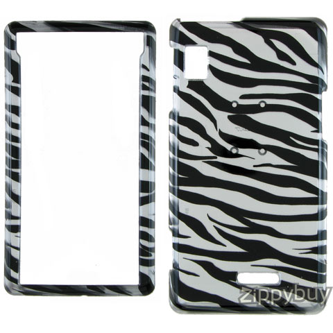 Motorola DROID A855 Hard Cover Case - Silver Zebra