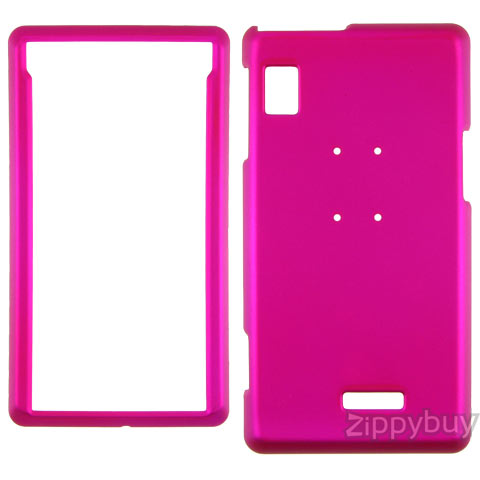 Motorola DROID A855 Rubberized Hard Cover Case - Hot Pink