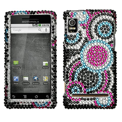 Blue Circles Crystal Rhinestones Bling Case for Motorola Droid 2