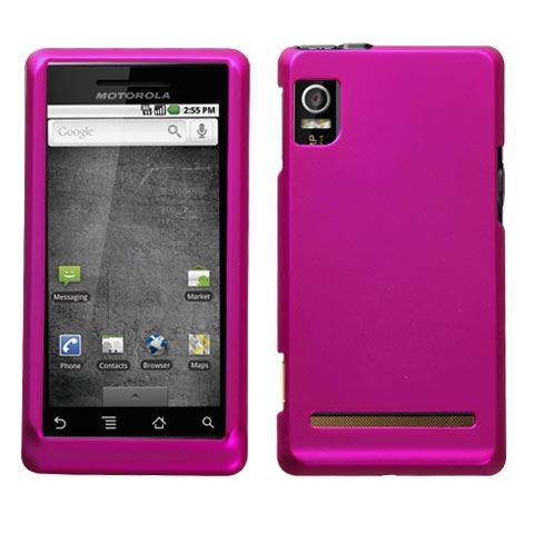 Hot Pink Rubberized Hard Case for Motorola Droid 2