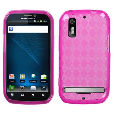 Hot Pink Argyle TPU Case for Motorola Photon 4G