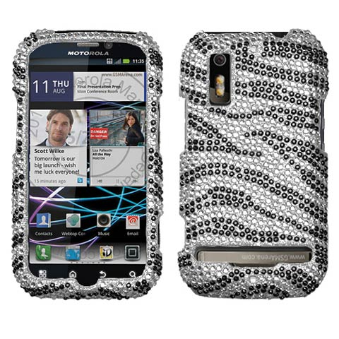 Zebra Crystal Rhinestones Bling Case for Motorola Photon 4G