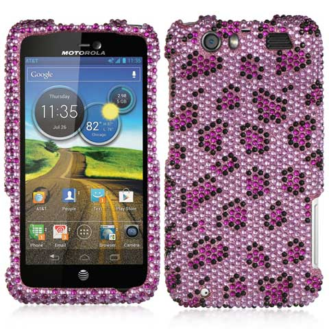 Purple Leopard Crystal Rhinestones Bling Case for Motorola Atrix HD