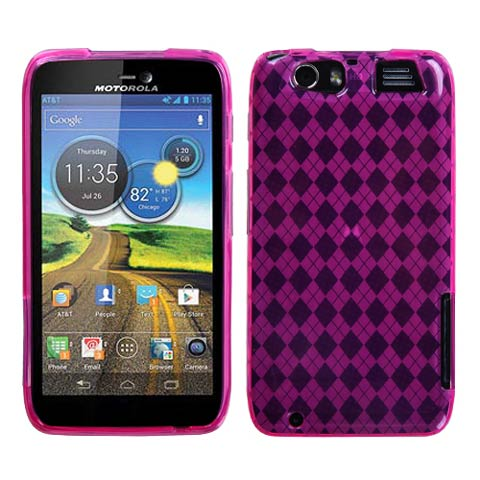 Hot Pink Argyle TPU Case for Motorola Atrix HD