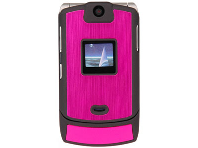 Motorola RAZR V3c Aluminum Faceplate Case (Black and Hot Pink)