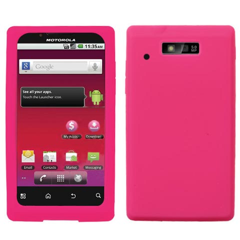 Hot Pink Silicone Skin Cover for Motorola Triumph