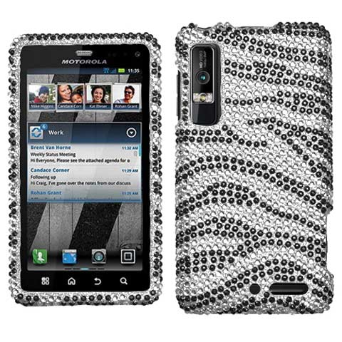 Zebra Crystal Rhinestones Bling Case for Motorola Droid 3