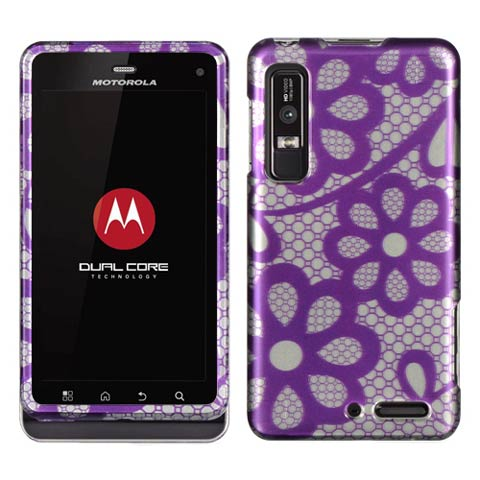 Purple Lace Hard Case for Motorola Droid 3