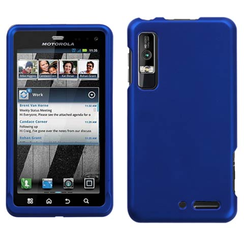 Blue Rubberized Hard Case for Motorola Droid 3