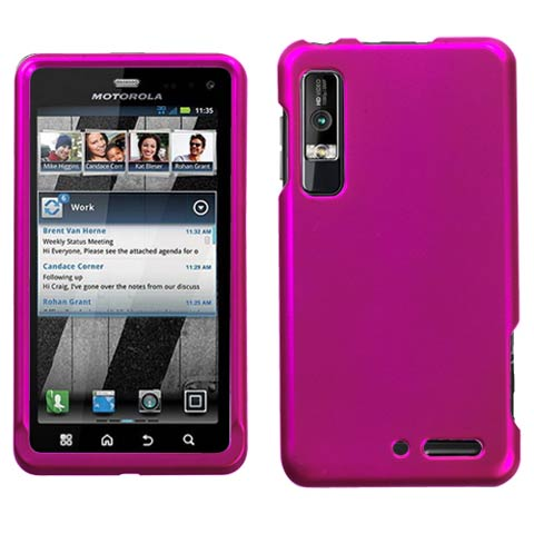 Hot Pink Rubberized Hard Case for Motorola Droid 3