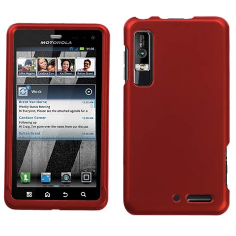 Red Rubberized Hard Case for Motorola Droid 3
