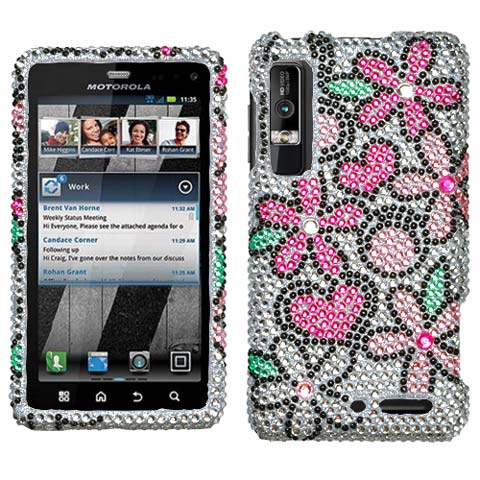 Play Flowers Crystal Rhinestones Bling Case for Motorola Droid 3