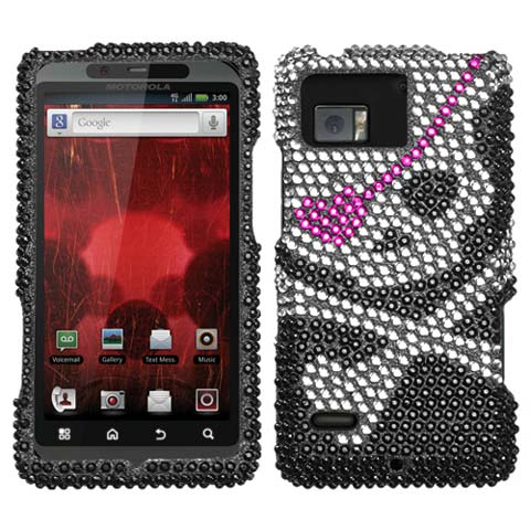 Pirate Skull Crystal Rhinestones Bling Case for Motorola Droid Bionic