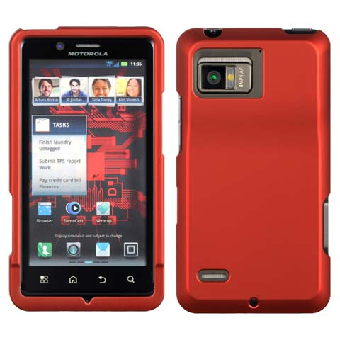 Red Rubberized Hard Case for Motorola Droid Bionic