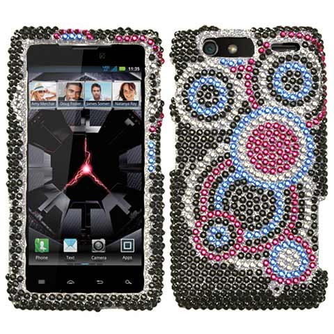 Blue Circles Crystal Rhinestones Bling Case for Motorola Droid RAZR MAXX