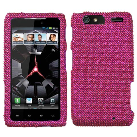 Hot Pink Crystal Rhinestones Bling Case for Motorola Droid RAZR MAXX