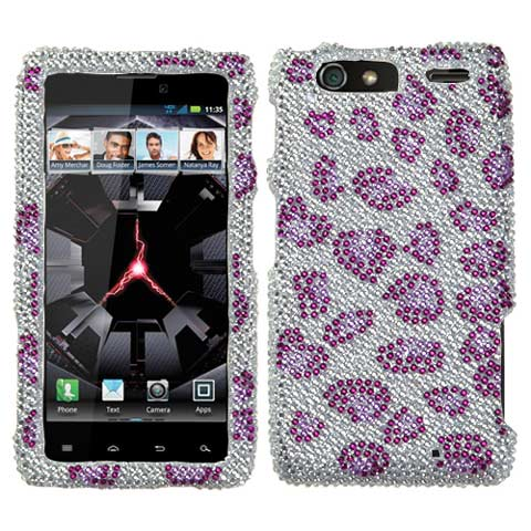 Purple Leopard Crystal Rhinestones Bling Case for Motorola Droid RAZR MAXX