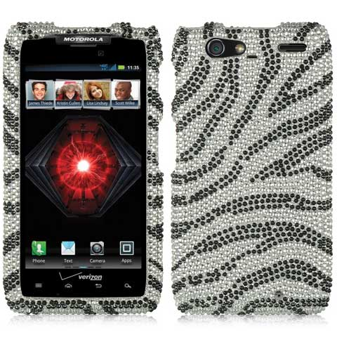 Zebra Crystal Rhinestones Bling Case for Motorola Droid RAZR MAXX