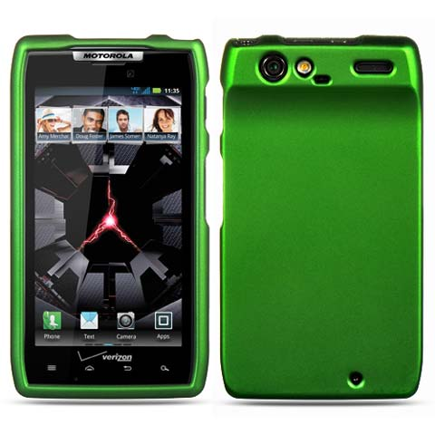 Green Rubberized Hard Case for Motorola Droid RAZR