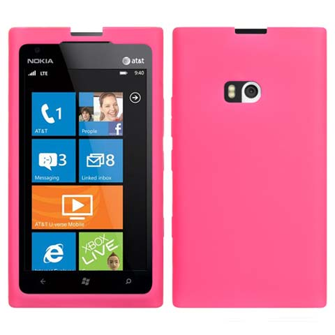 Hot Pink Silicone Skin Cover for Nokia Lumia 900