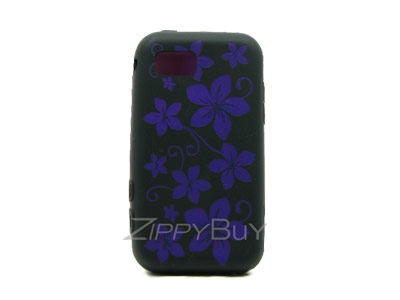 Samsung Eternity SGH-A867 Silicone Skin Cover Case - Black w/ Purple Flowers