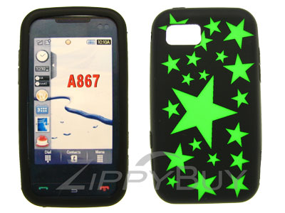 Samsung Eternity SGH-A867 Silicone Skin Cover Case - Green Stars