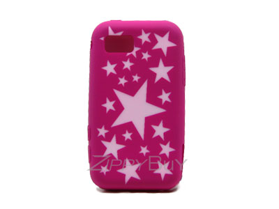 Samsung Eternity SGH-A867 Silicone Skin Cover Case - Hot Pink w/ Stars